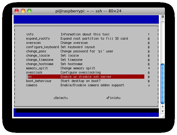 Habilitar el servicio ssh en la Rasberry Pi