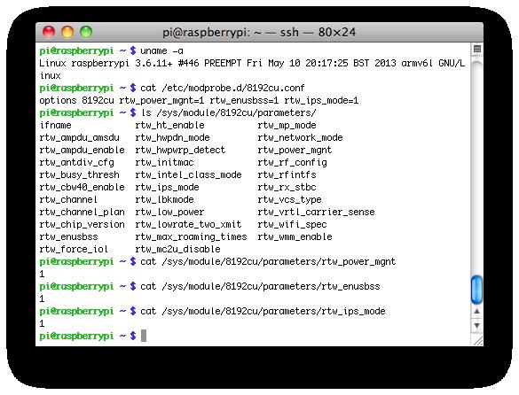 Modificando los parámetros rtl8192cu wifi en la Raspberry Pi
