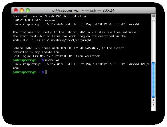 Conectado vía ssh a la Raspberry Pi