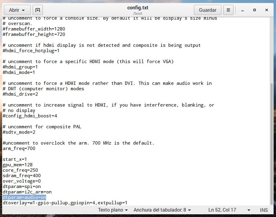 Editando el fichero /boot/config.txt en la Raspberry Pi