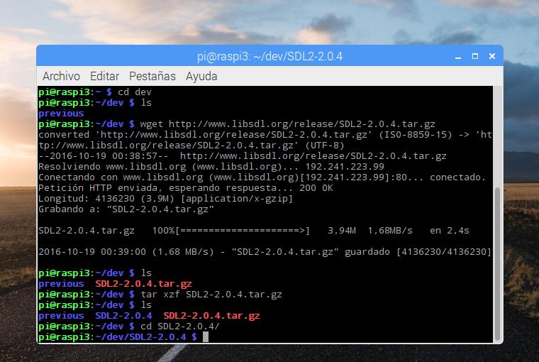 Instalando libSDL 2.0.4 en la Raspberry Pi