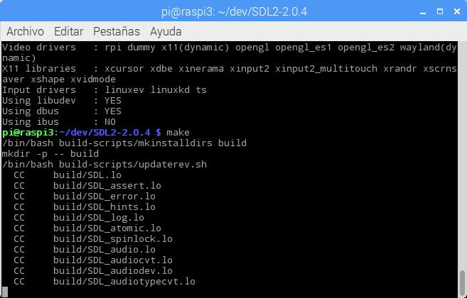 Compilando las librerías SDL2 en la Raspberry Pi